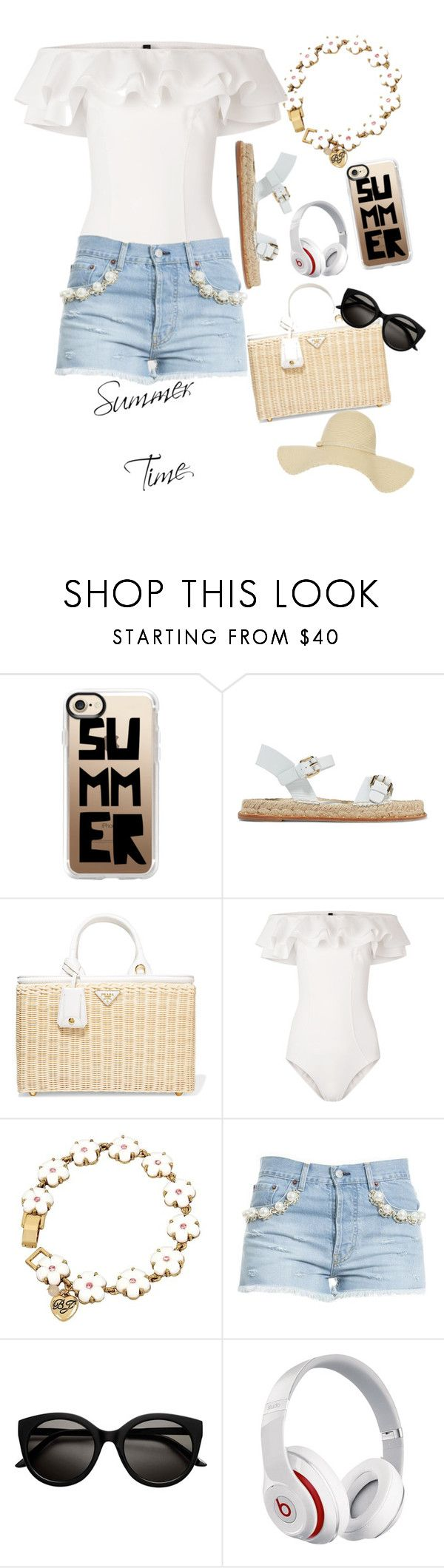"""summer white"" by jennifertc ❤ liked on Polyvore featuring Casetify, Paloma Barceló, Prada, Lisa Marie Fernandez, Betsey Johnson, Forte Couture and Beats by Dr. Dre"