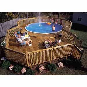 above ground pool with separate wrap-around deck