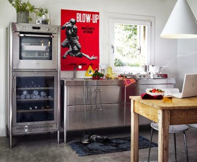 stainless steel kitchen, wooden table, Blow Up poster