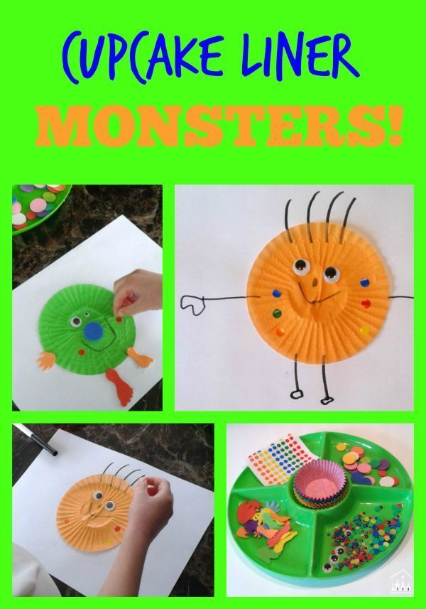 cupcake liner silly monsters - halloween craft for toddlers and preschoolers