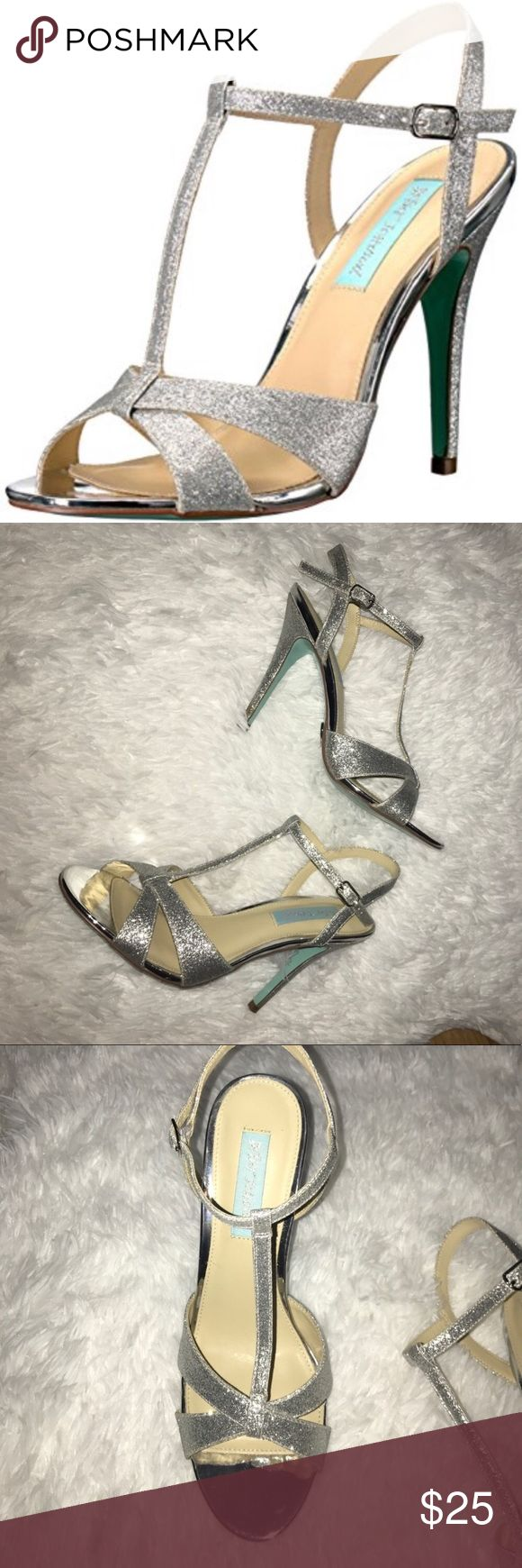 Betsy Johnson teena silver glitter heels. 7 1/2 Betsy Johnson teena silver glitter heels. Worn once. Excellent condition. Bottoms of heels little discolored as shown in last picture Betsey Johnson Shoes Heels #GlitterHeels