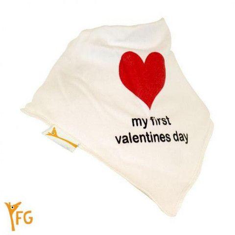 Baby Bandana Bib - White My First Valentines Day – Baby Luno