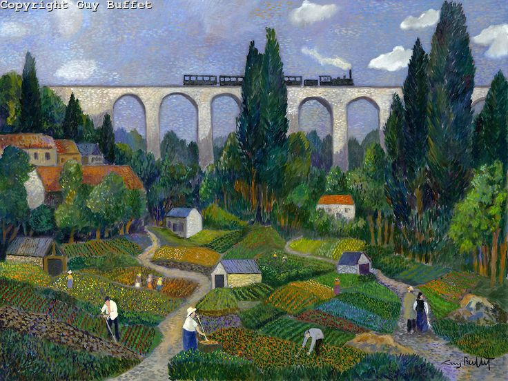 """""""Gardeners of Val Fleury""""  by Guy Buffet -   a  French countryside Guy Buffet classic"""