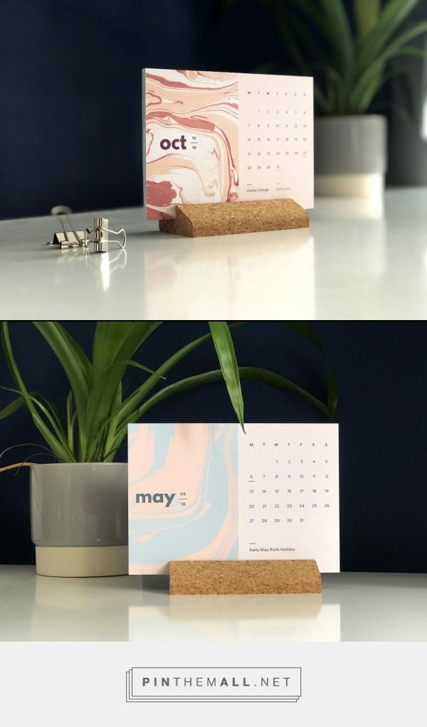 2021 Desk Calendar with Holder, Abstract Calendar with Wooden