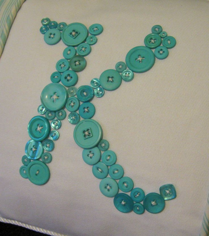 Letter 'K' Pillow Monogrammed in Aqua Blue Buttons by Letter Perfect Designs on Etsy -- Your Choice of Letter