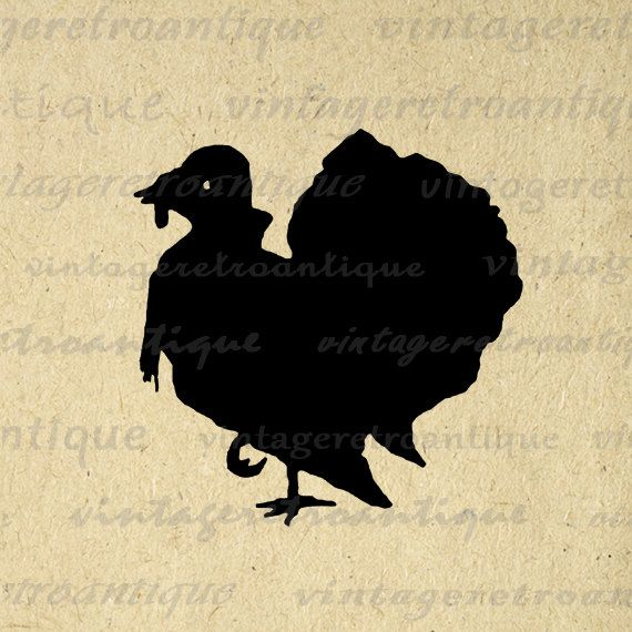 Turkey Silhouette Printable Digital Download Thanksgiving Graphic Image Vintage Clip Art. Digital graphic. This vintage high quality printable digital illustration is high resolution for fabric transfers, printing, papercrafts, pillows, tea towels, t-shirts, and other great uses. Real printable antique art. Great for use on etsy items. This image is high quality at 8½ x 11 inches large. Transparent background PNG version included.