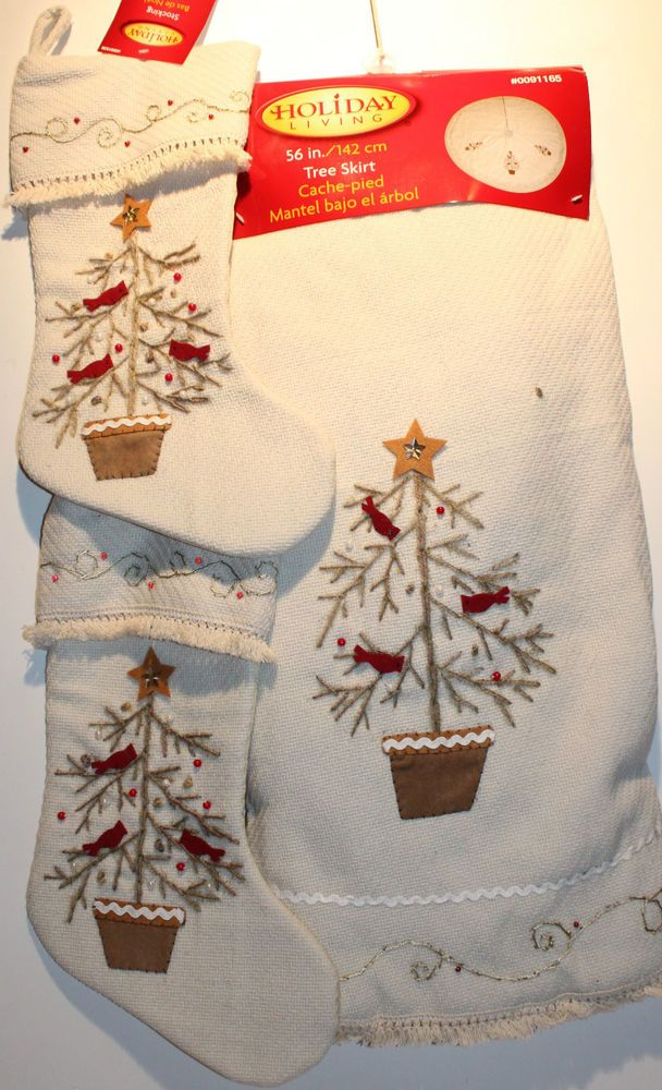 TRADITIONAL CHRISTMAS TREE SKIRT & 2 STOCKING SET Old-Fashioned Decoration NEW