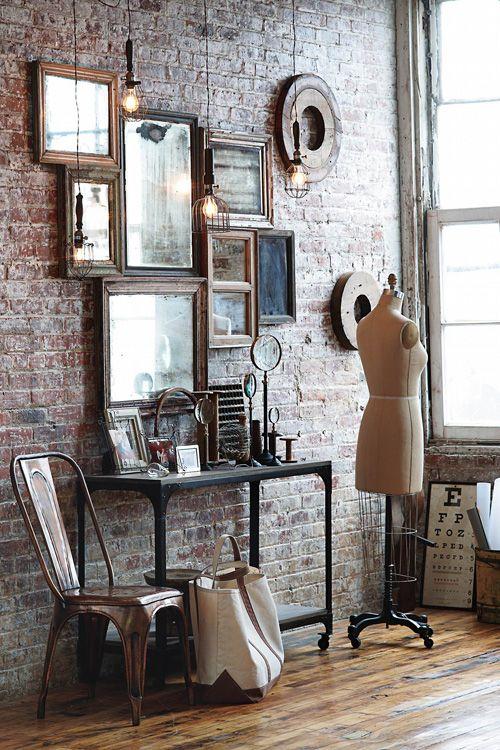 brick wall, gallery wall: Vintage Mirror, Mirror Collage, Mirror Mirror, Brick Wall, Wall Mirror, Wall Of Mirror, Mirrormirror, Exposed Brick, Expo Brick