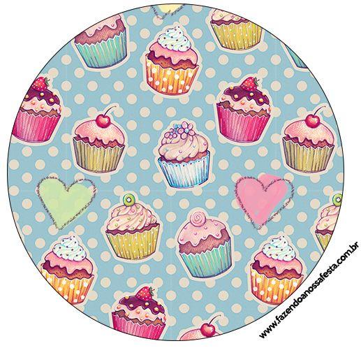 Rótulo Tubetes, Latinhas e Toppers Cupcakes:
