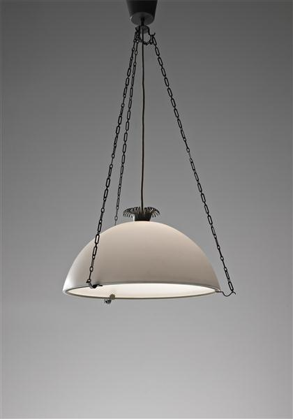 Erik Gunnar Asplund; Painted Metal and Frosted Glass 'Parachute' Ceiling Light, c1925.