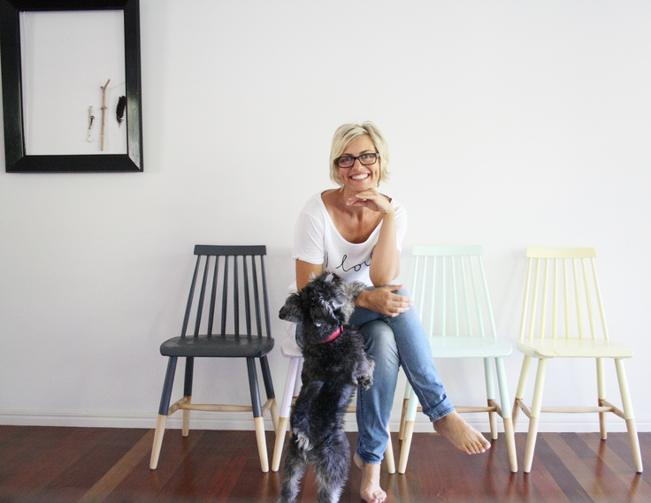 "Simone Barter pictured with her Re-Love Project 'For the Love of Chairs.' Simone's natural creative flair has been evident in her work as an interiors and props stylist for over 15 years. Based in Noosa and the creator of blog site style.life.home, Simone's specialty lies in the ability to declutter and decorate a space in a way that brings a stylishly relaxed ambience to any room in a client's house or office. Simone loves new and pre-loved furniture that she can put her own ""stamp"" on."