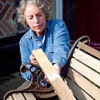 Replacing wooden slats on metal garden bench [with TUTORIAL]