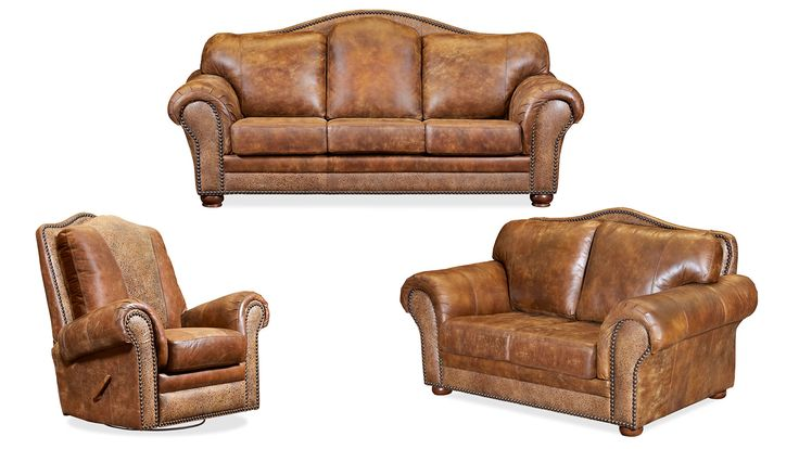 Furnish your entire room with stunning top-grain leather furniture all Made in America! Set includes sofa, loveseat, and recliner.