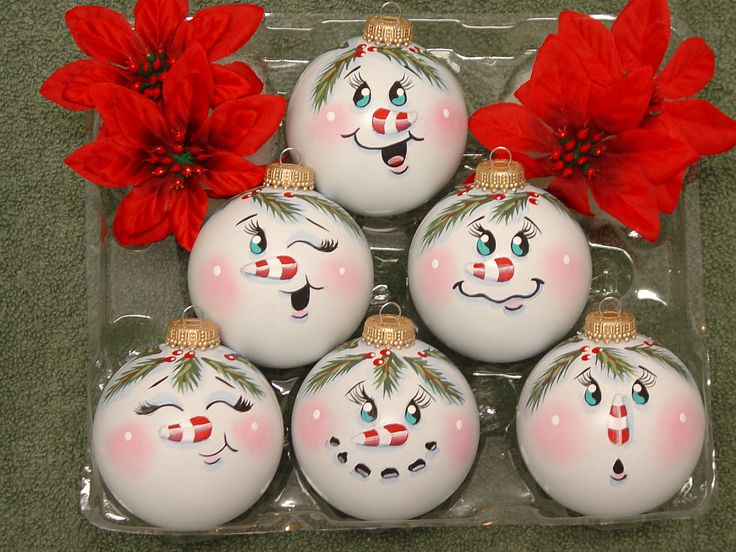 Handpainted Snowman Ornaments. $16.99, via Etsy.