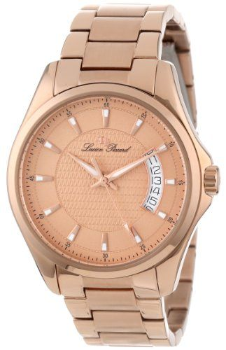 Men's Wrist Watches - Lucien Piccard Mens 98660RG99 Excalibur Rose Textured Dial Rose Gold IonPlated Stainless Steel Watch ** Read more at the image link.