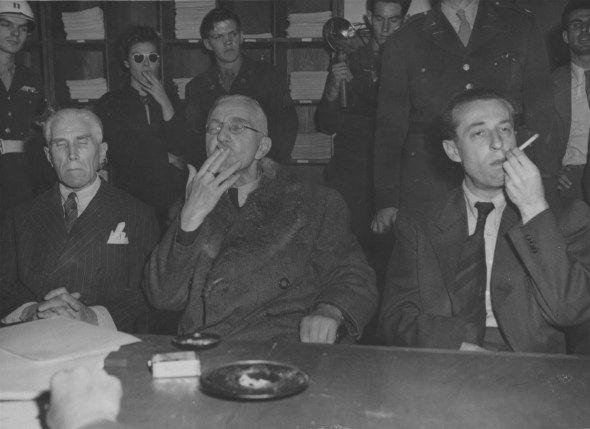 "Ah, the ol' ""not getting executed"" smoke. Franz von Papen,Hjalmar Schacht, and Hans Fritzsche after their acquittal at Nuremberg; 1946.  https://www.pinterest.com/pin/444378688205537397/"