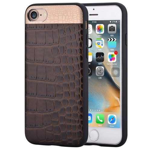 COMMA for iPhone 7 4.7 Crocodile Texture Genuine Leather Coated PC TPU Hybrid Mobile Casing - Brown