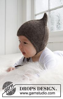 """Knitted DROPS hat in """"Alpaca"""". ~ DROPS Design, love the pointy shape so cute"""