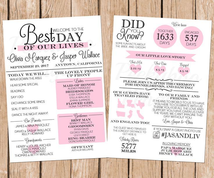 25 Best Ideas About Fun Wedding Programs On Pinterest