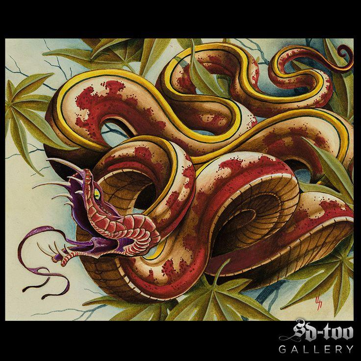 """Snake"" - 11x14"" Digital Art print. Original acrylics painting done by Nathaniel Gann of Remington Tattoo in San Diego, CA. Printed on: 100# Coronado Cover, Stipple texture, Elemental Chlorine Free (E"