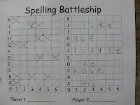 Spelling Battleship - This is a two player game. Before playing each student needs to fill in one side of the game board with six of their spelling words going across (one letter per box). The first player needs to guess a coordinate and the other student has to tell them if they hit a letter. Battleship play continues until the first player sinks all the other's words!