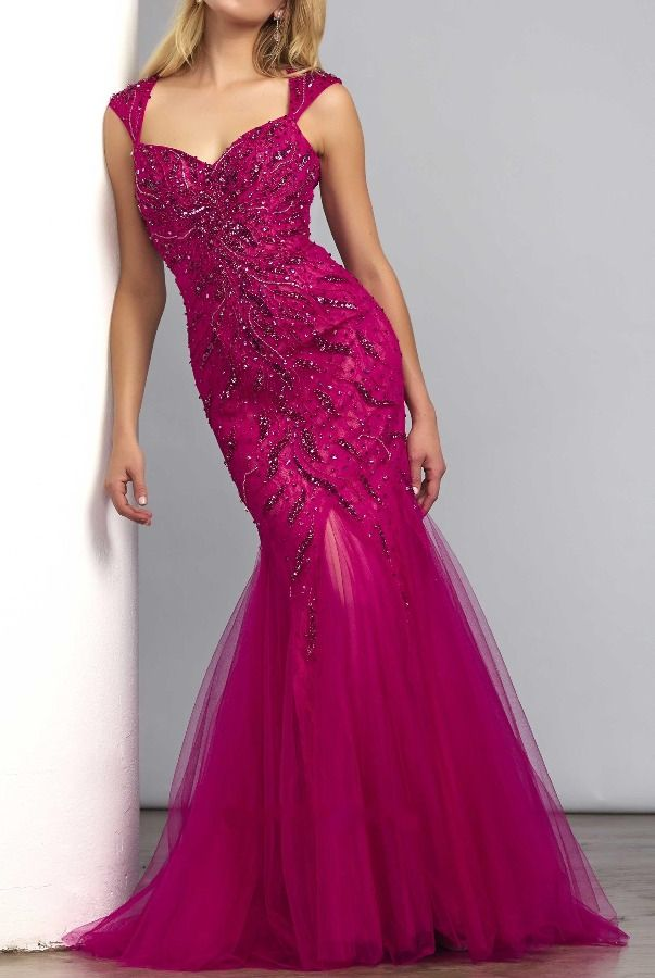 Mac Duggal Mermaid beaded gown in cranberry 61758D
