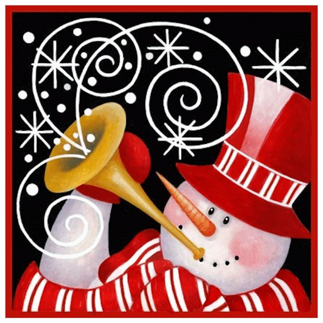 Christmas Snowman Blowing Horn With Black Background  By Artist Stephanie Stouffer.