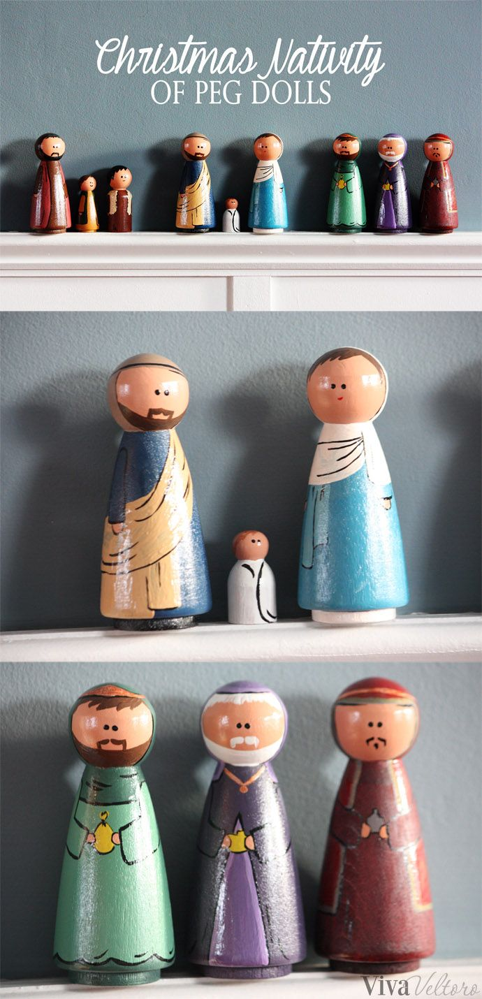 A cute and easy holiday DIY craft - Peg Doll Christmas Nativity. A perfect gift and it can be made for less than $10.