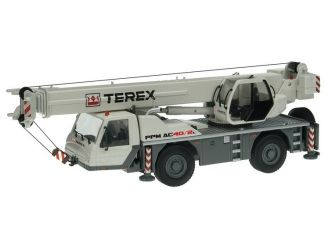 This Terex PPM AC40-2L Mobile Crane Diecast Model Crane is Grey and features working stabilisers, articulated body, lift arm, wheels. It is made by NZG and is 1:50 scale (approx. 20cm / 7.9in long).  ...