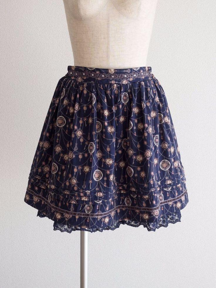 🍀axes femme🍀 Organza Jewelry Pattern Beaded Skirt Japan Size M Antique Lolita #axesfemme #Pleated #HarajukuLolitaFashion