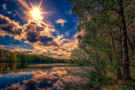 #WallpaperHD #Greens #Forest #Summer #Sky #Sun #Clouds #Trees #River BackgroundHD