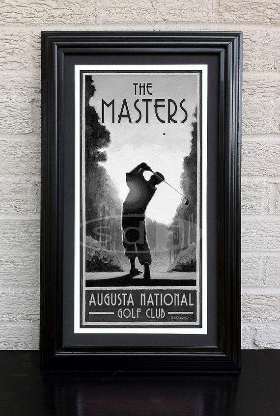 "The Masters golf sports art poster print, black & white, 8x10"""