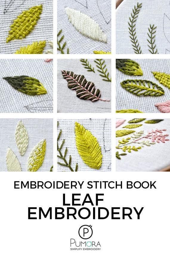 Leaf Stitch Tutorial : stitch, tutorial, Modern, Embroidery, Pattern, Botanical, Stitching, Book,, Tutorials,, Stitch