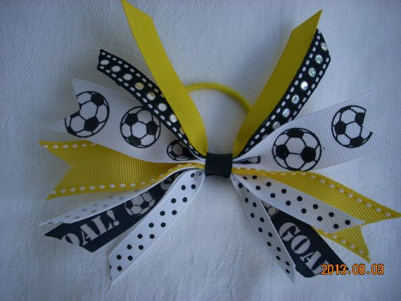 SOCCER - YELLOW and BLACK spiked soccer bows on ponytails for soccer game -pony o- girls soccer team -blueskybows