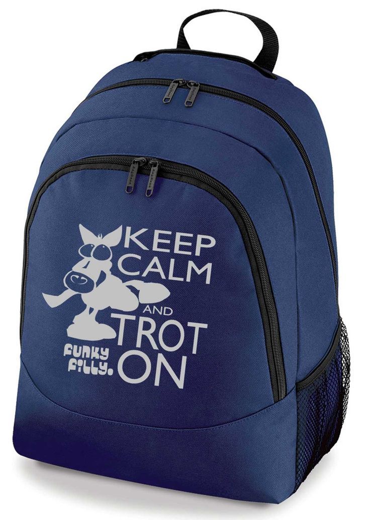 Funky Filly Silver Keep Calm and Trot On School Backpack