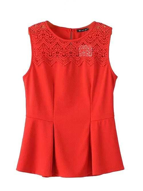 Wholesale Solid hollow out splicing design sleeveless blouse CY-D0308L6 - Lovely Fashion