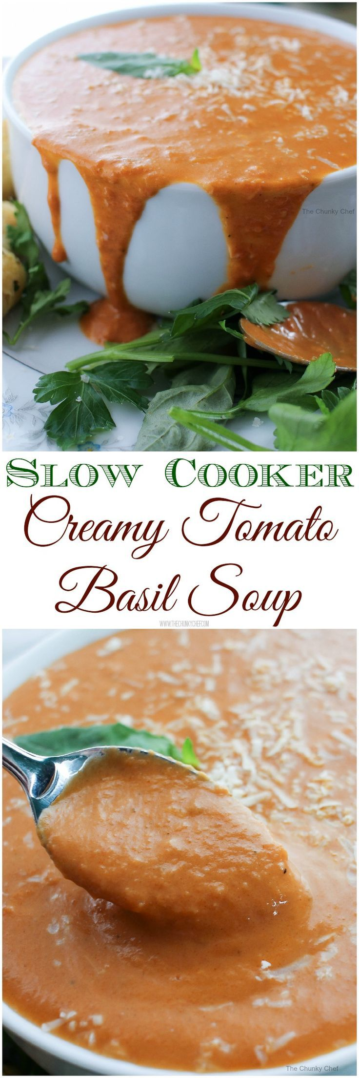 Slow Cooker Creamy Tomato Basil Soup - Rich and creamy, full of flavor, and cooked in your slow cooker! (Tomato Soup Recipes)