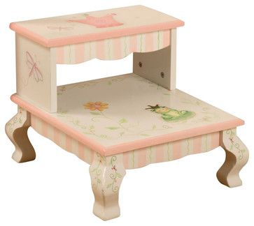 Teamson Kids Princess and Frog Crown Hand Painted Kids Step Stool traditional-baby-and-kids