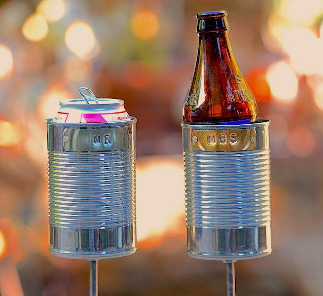 MR MRS 2 Hobo Tin Can Beer Holders Garden Drink Wedding Gift Anniversary 10 Year Present