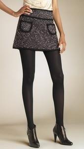Короткая юбка и чёрные колготки