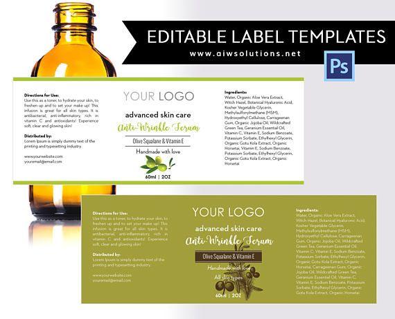Olive Label Template Product Label Olive Skin Care Label Serums
