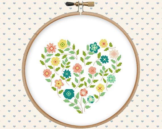Flower heart cross stitch pattern pdf - pillow embroidered - instant download - modern cross stitch - floral cross stitch
