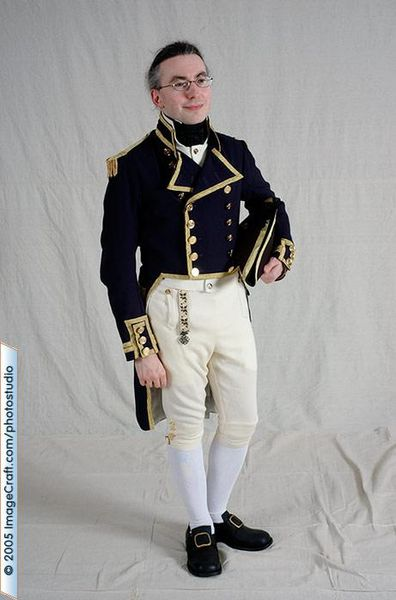 Royal Navy uniform reproduction. Breeches made with the Eagle's View pattern Broadfall Breeches #73.