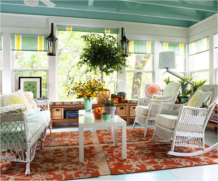 furniture cool sun room with turquoise ceiling color also white rattan rocking chair and modern wooden wicker for sunroom