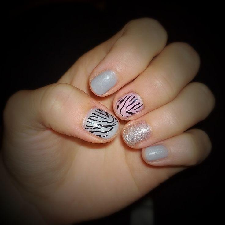 Zebra nails! After five, pink chiffon & silver glitter. #sensationail