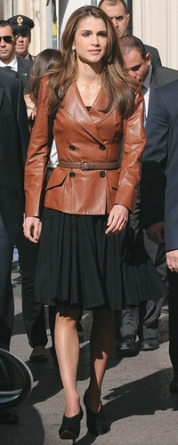 Cool Outfit: Queen Rania of Jordan in Brown Leather Blazer