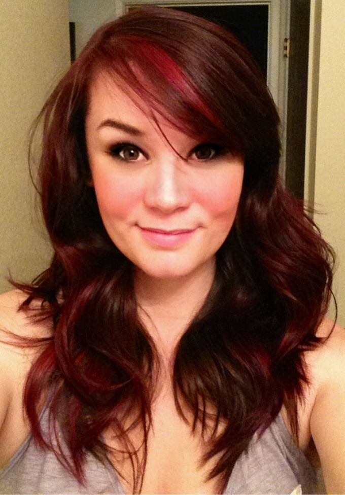 Auburn/brown hair color with red highlights