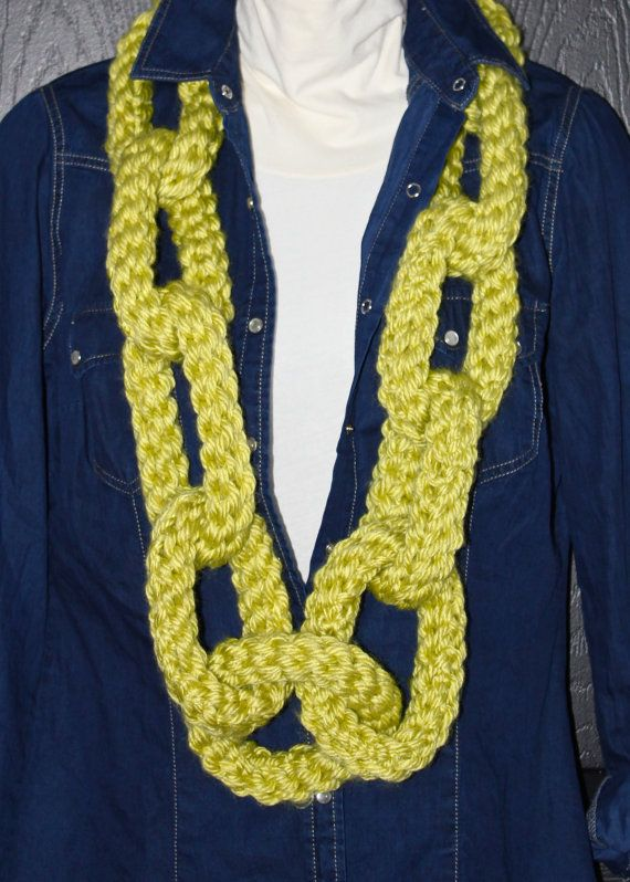 Crochet Chain : Crochet Chain Link Scarf Necklace Lime Green by MaxMinnieandMe, $45.00