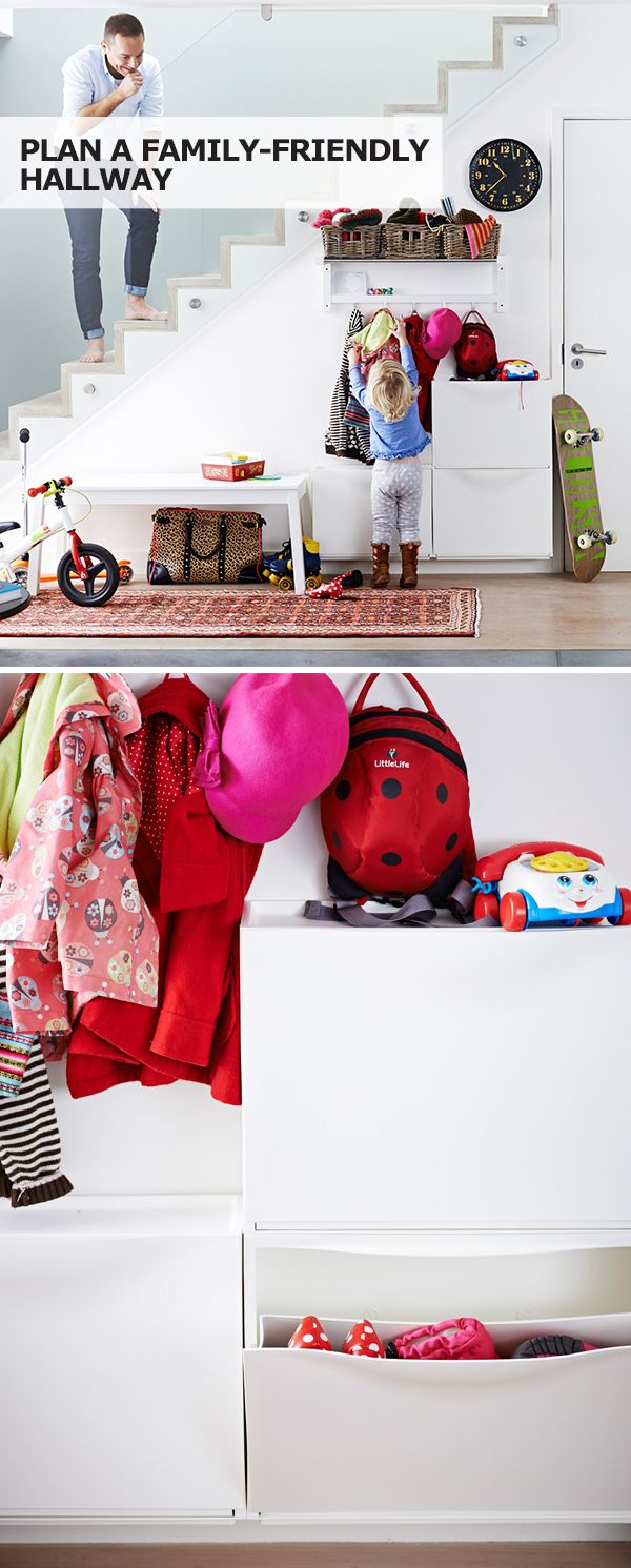 A family-friendly hallway with storage like a shoe cabinet, a storage bench or a spot for backpacks helps to make daily routines run more smoothly! Click for IKEA tips to get organized.