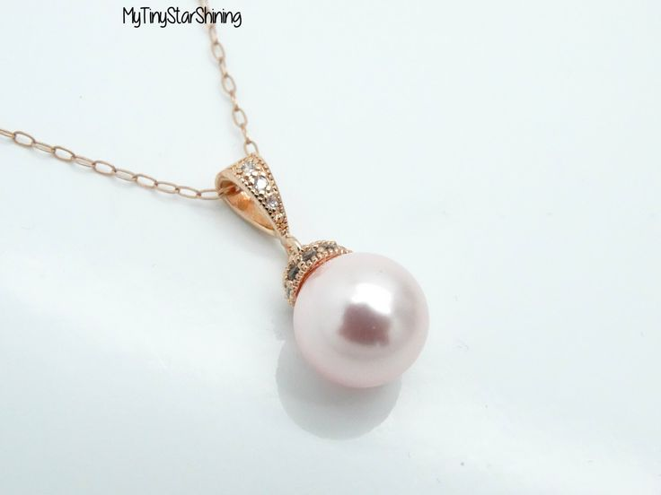 Pink Pearl Necklace ROSE GOLD Pearl Necklace 14k rose gold Necklace Bridesmaid Pearl Jewelry Wedding Jewelry Bridesmaid gift by MyTinyStarShining on Etsy https://www.etsy.com/listing/224851421/pink-pearl-necklace-rose-gold-pearl